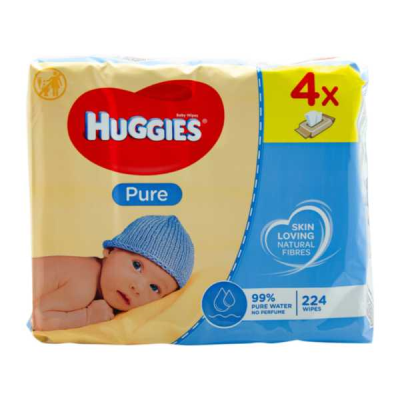 Huggies Baby Wipes - Pure (Quad pack) Boots £3.50 56'sx4