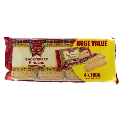 Campbells Highland Speciality Shortbread Fing Pack RRP £1.49 4x100g