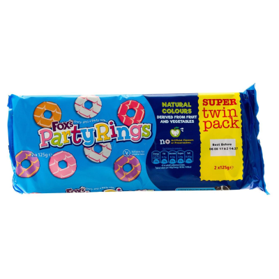 Fox's Party Rings Twin Pack RRP £1.49 250g