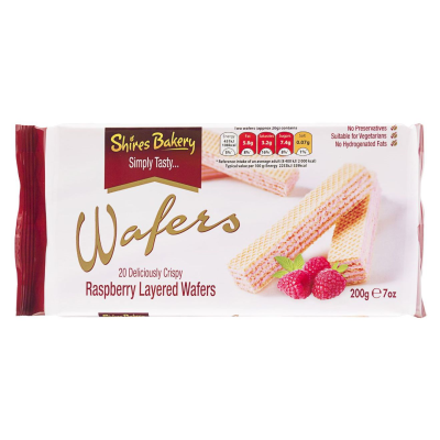 Shires Bakery Rasberry Crème Layered Wafers 2 RRP £1.49 200g