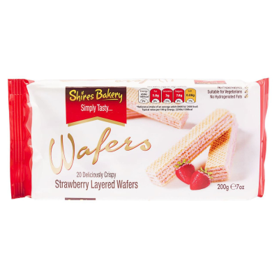 Shires Bakery Strawberry Crème layered Wafers RRP £1.49 200g