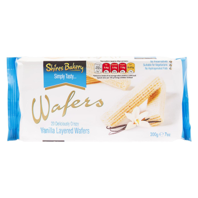 Shires Bakery Vanilla Crème Layered Wafers 20 RRP £1.49 200g