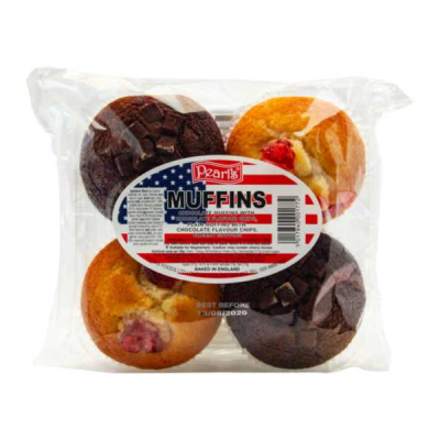 Pearls Muffins 2 Double Choc & 2 Cherry RRP £1.49 4Pack